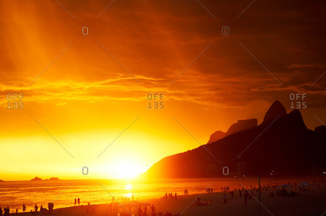 Ipanema at sunset, Brazil - Offset
