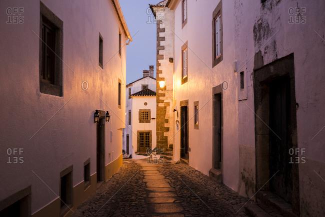 Narrow street in Marvao at dusk, Portugal