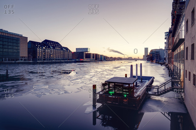 Berlin, Germany - January 9, 2016: Frozen Spree river, Berlin, Germany
