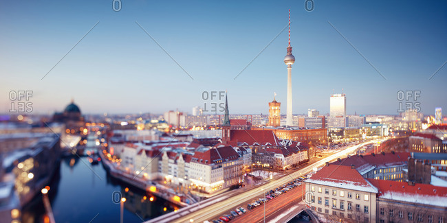 Berlin Skyline with tilt shift effect, Berlin, Germany