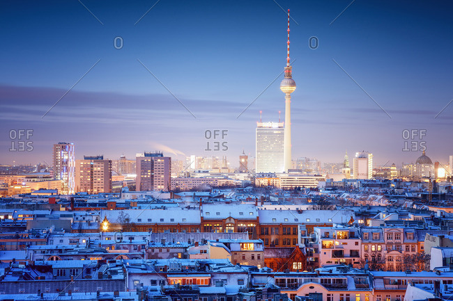 Berlin cityscape in the winter at dusk