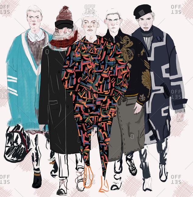 Illustration of male fashion models