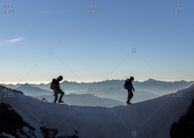 Two mountaineers at Dauphine, Ecrins Alps, France