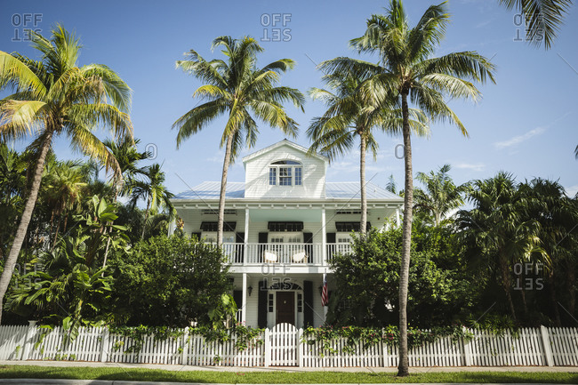 House with palm trees, Key West, Florida
