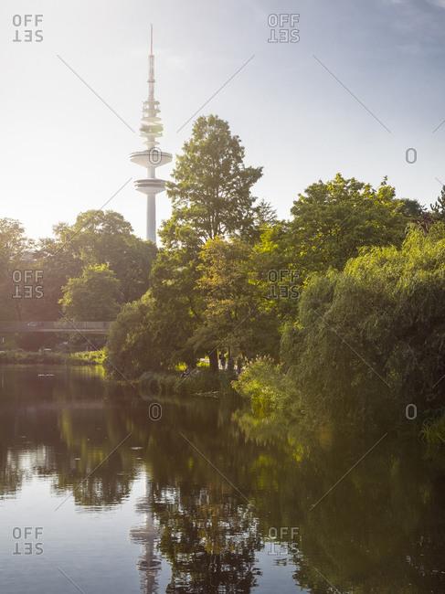 Hamburg, Germany - August 31, 2015: View to Heinrich-Hertz Tower at backlight, Hamburg