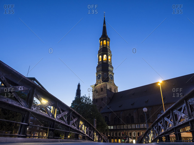 St. Catherine's Church at night, Hamburg