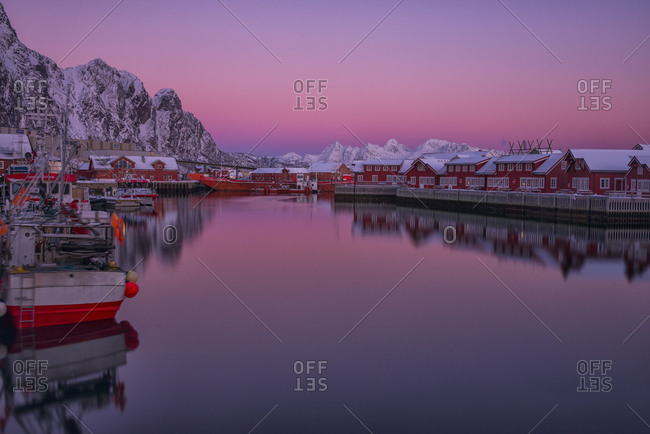 The harbor of the town at sunset, Svolvaer, Lofoten Islands, Norway