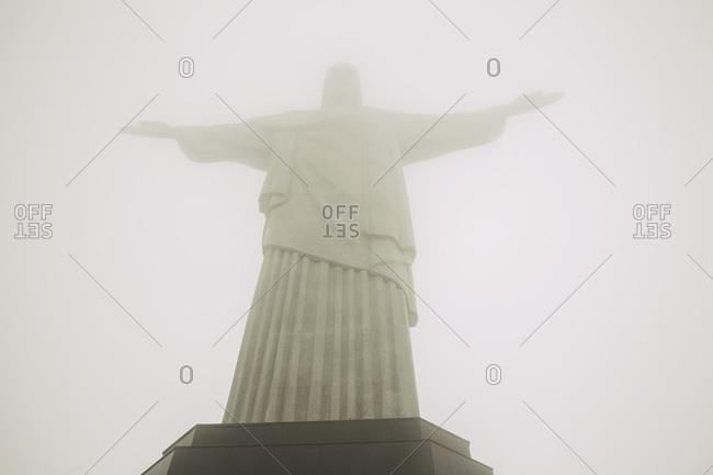 Rio de Janeiro, Brazil - October 28, 2015: Christ the Redeemer in the fog, Rio de Janeiro