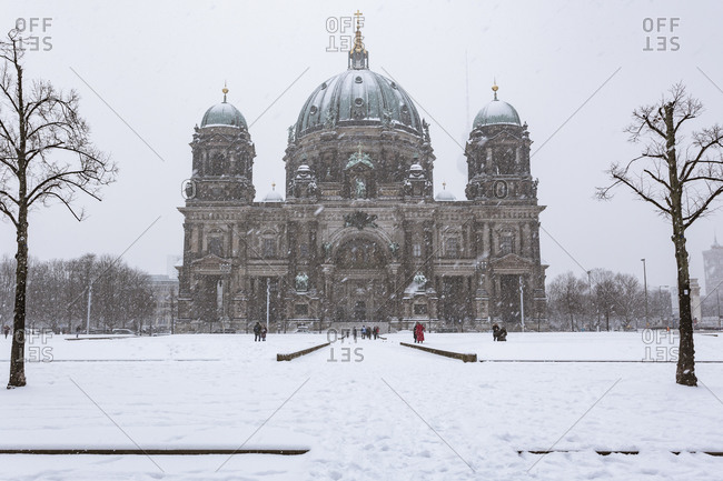 View to Berliner Dom at snow fall, Berlin