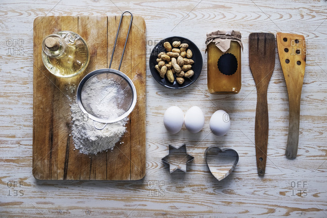 Assorted baking ingredients and cookie cutters