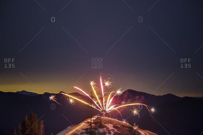Fireworks on a mountain