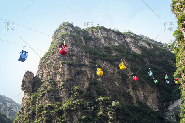 Colorful lift carts at longqing Gorge, Beijing, China