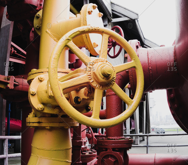 Painted valves and pipes at Gasworks Park, Seattle, Washington