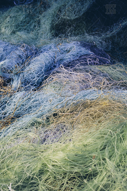 Pile of commercial fishing nets