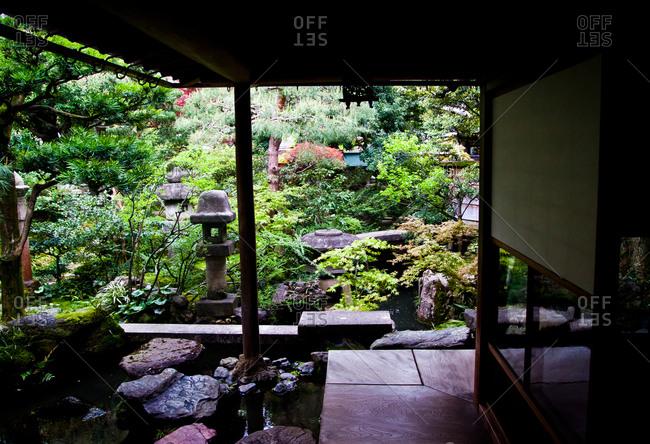 A view of the courtyard garden in the Nomura Samurai House in Kanazawa, Japan