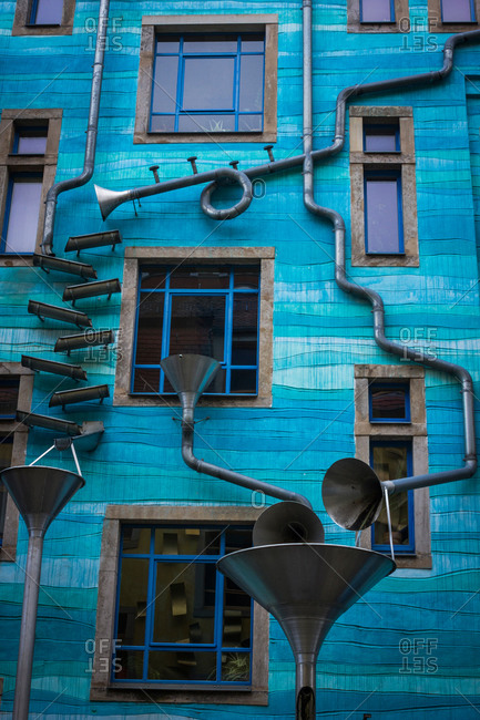 A detail of the musical house in Dresden, Germany