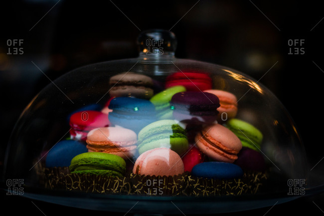 Colorful French macaroons for sale in a cafe in Budapest, Hungary