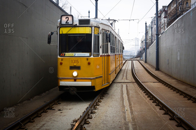 A tram arriving at a station in Budapest, Hungary