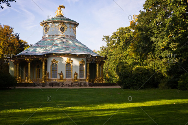 A view of the Chinese House in Sanssouci Park, Potsdam, Germany