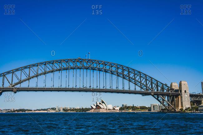 Sydney, Australia - January 26, 2016: Sydney Harbor Bridge with the Opera House in the background