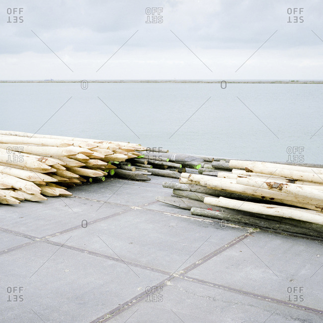 A stack of wooden poles resembling pencils on a dock at the city of Lelystad, The Netherlands