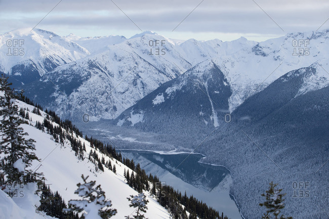Snowy mountains surrounding a lake