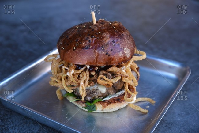 Hamburger with fried onions served on wax paper