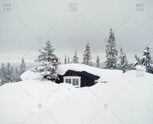 House buried in deep snow