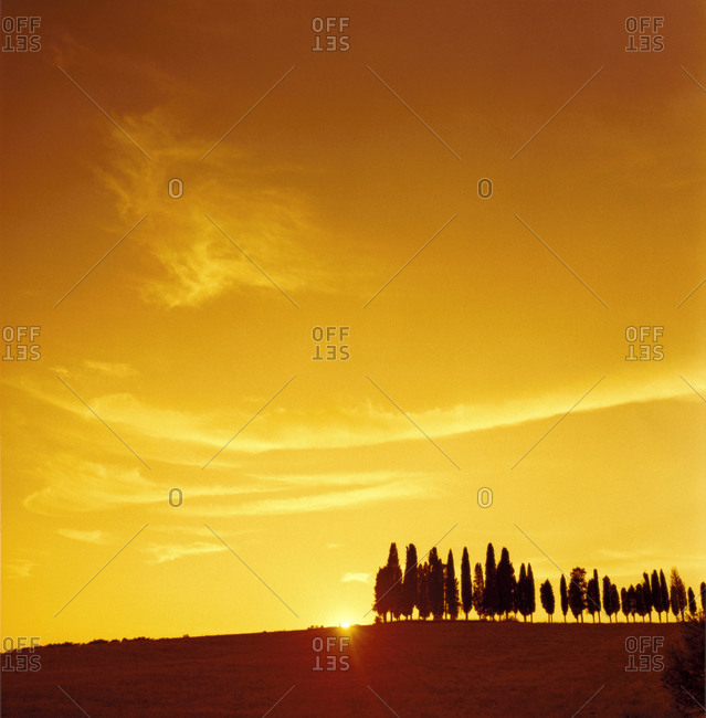 Sunset over Tuscan countryside
