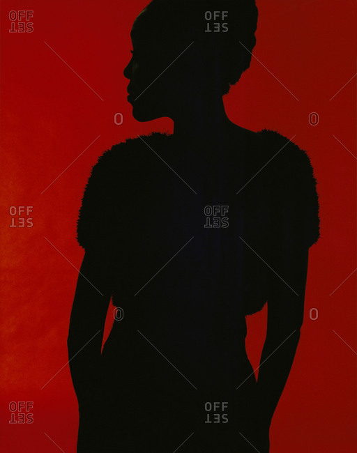 Woman's outline with red background