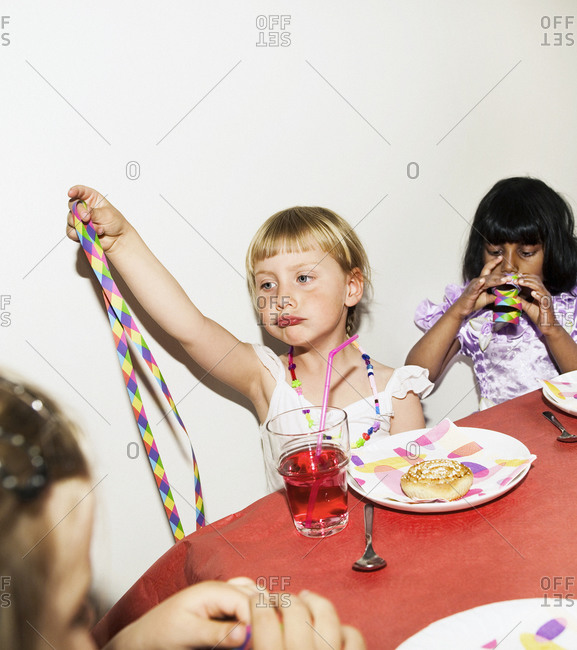 Three girls at a childrenÕs party