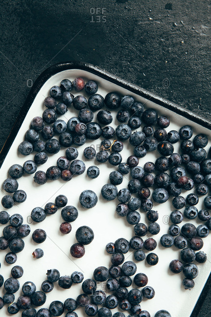 Overhead view of an enameled tray of fresh blueberries