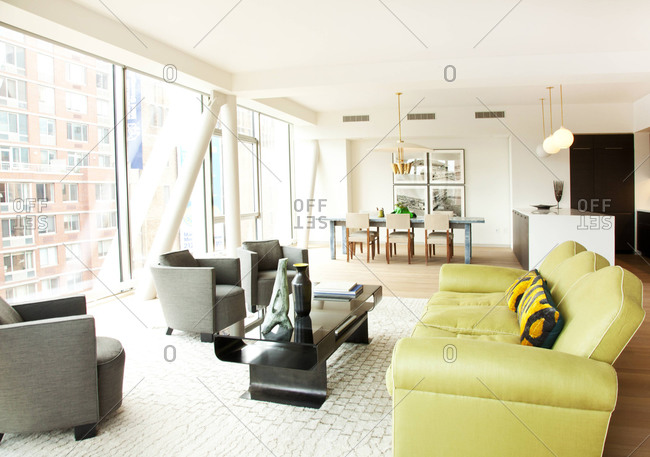 New York, NY - June 13, 2011: Interior of an open-concept condo in the HL23 Building in West Chelsea, New York City