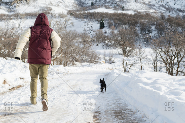 Back view of man and dog running along snowy trail