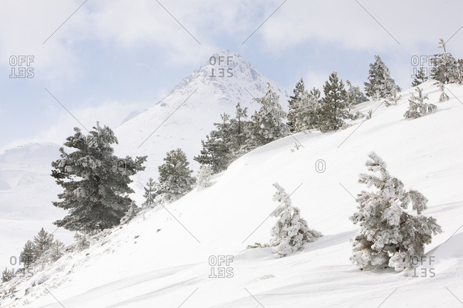 As in a perfect winter postcard Mount Bolza appears sketched in white and blue, Campo Imperatore, Abruzzo, Italy