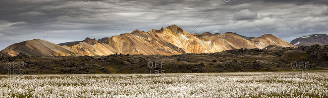 Panoramic view of the multicoloured rhyolite mountains in Landmannalauga