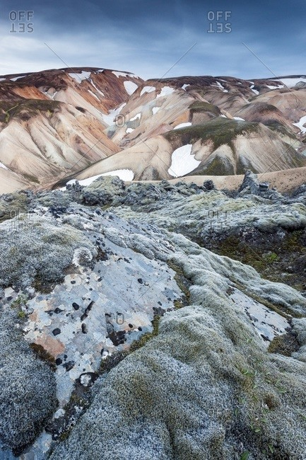 The multicoloured rhyolite mountains in the area of Landmannalaugar at sunset, South Iceland