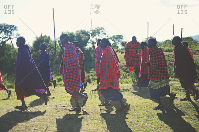 Tanzania - July 15, 2015: A group of Maasai villagers walking together