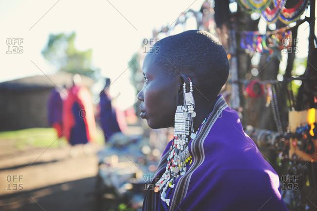 Tanzania - July 15, 2015: Maasai villager wearing beaded earrings