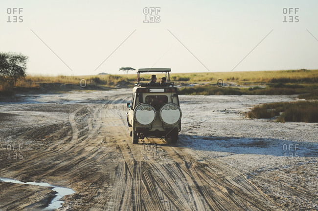 Safari truck with group driving through a dry wash in the Serengeti