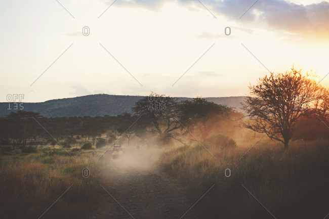 Safari truck driving down a dusty road at dusk