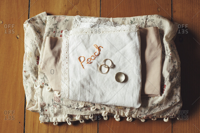 Wedding rings on a handkerchief and vintage cloth