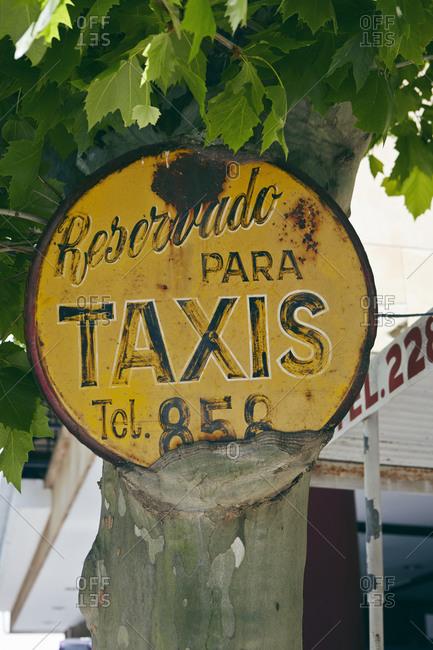 Rustic taxi stand sign, Colonia del Sacramento, Uruguay