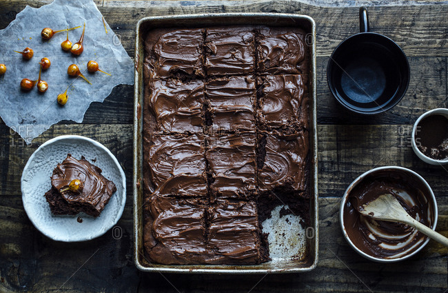 Espresso brownies with mocha frosting and candied hazelnuts