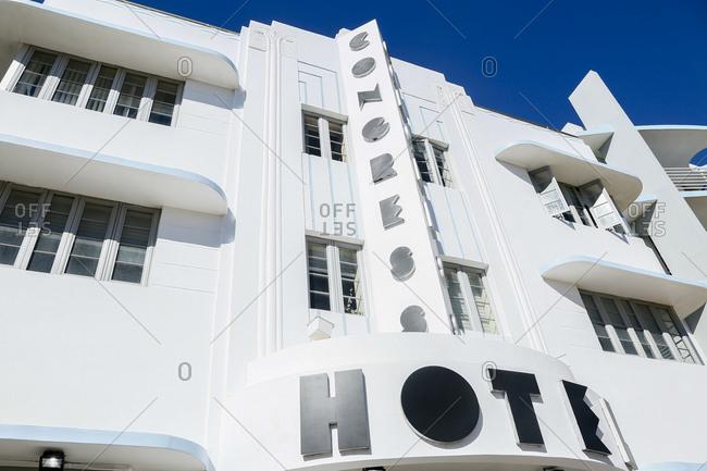 South Beach, FL - January 24, 2016: Hotel exterior in South Beach, FL