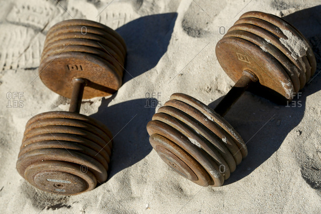 Dumbbell weight in the sand
