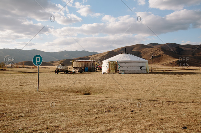 Outdoor view of a traditional family ger on the Mongolian steppe