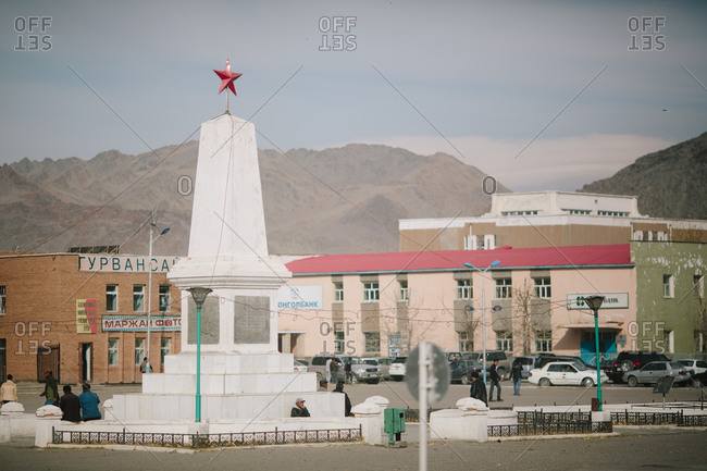 Olgii, Mongolia - October 4, 2013: Monument at the center of the Soviet built  city