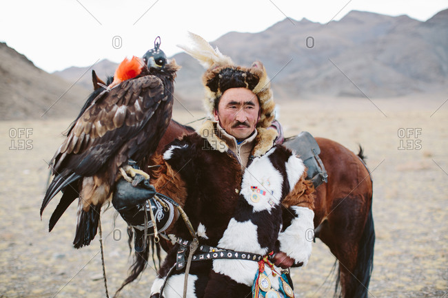 Bayan-Olgii, Mongolia - October 5, 2013: Portrait of a Kazakh Eagle Hunter with his eagle and horse at the annual Eagle Festival