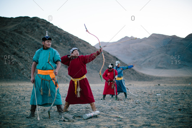Bayan-Olgii, Mongolia - October 5, 2013: Archers compete at the annual Eagle Festival